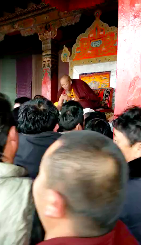 (3) Khenpo Lobdroe blessing the public at Magon Monastery in Drayab.