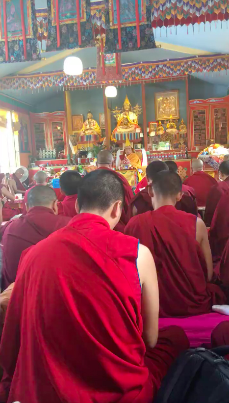 On June 1, 2018, His Holiness the 10st Gaden Tripa Jetsun Lungrik Namgyal starting giving teachings on Vajra Yogini in France.
