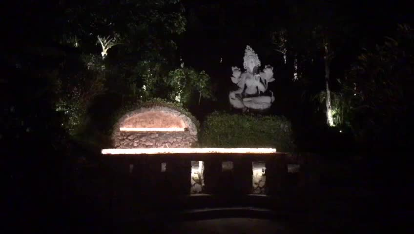 Light offerings to the outdoor Buddha Tara shrine in Kechara Forest Retreat, Malaysia at night. Beautiful.